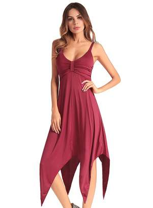 Ruiyige Women's Solid Color Beach Holiday Sling Casual Summer Sun Dress Dark Red 2XL