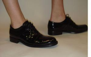 POLLINI black patent lace up oxford