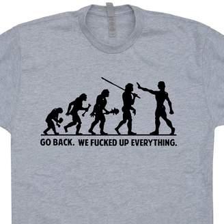 Theory Shirtmandude T-Shirts L - Go Back T Shirts Funny Evolution Charles Darwin Offensive Humor Shirtmandude