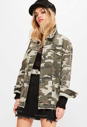 Missguided Khaki Camouflage Raw Edge Trucker Jacket
