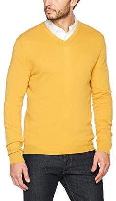 Benetton Men's V Neck Sweater Longsleeve Sweatshirt, (Beige 3c7), Large