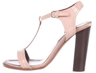 Nina Ricci Patent Leather T-Strap Sandals Pink Patent Leather T-Strap Sandals