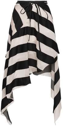Marques Almeida Marques'almeida Maled Asymmetric Stripe Skirt