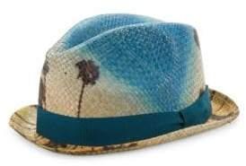 Paul Smith Palm Sky Straw Fedora Hat