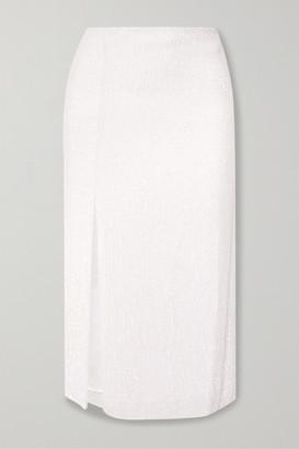 retrofete Veronica Sequined Chiffon Midi Skirt - White