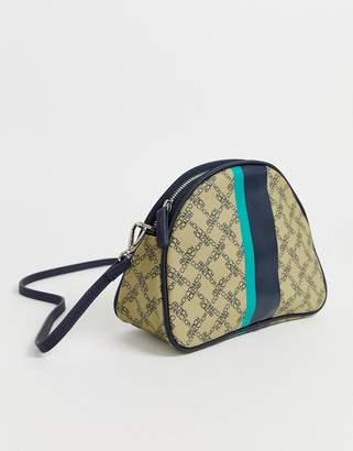 French Connection Alexia monogram crescent handbag