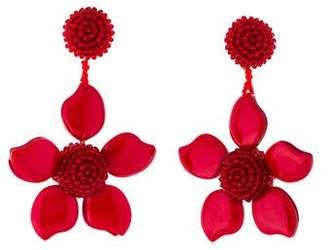 Oscar de la Renta Crystal & Bead Flower Clip-On Earrings