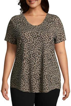 Boutique + + Leopard Print Voop Tee - Plus