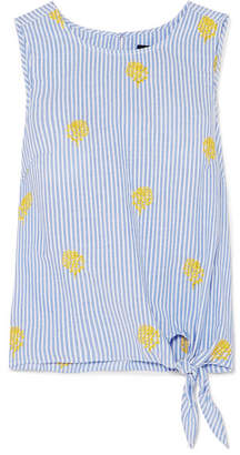 J.Crew Embroidered Striped Cotton-poplin Top - Blue