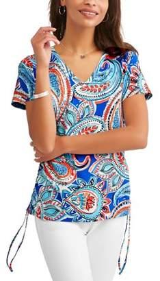 Caribbean Joe Women's Short Sleeve Side Ruched Tee
