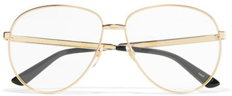 Aviator-style Gold-tone Optical Glasses - one size