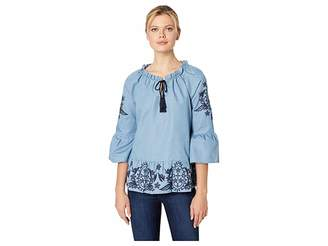 Scully Jocelynn Peplum Blouse with Embroidery