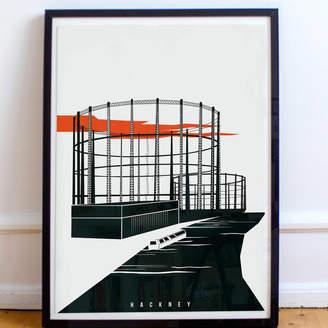 Eye for London Prints Industrial Skeletons Of London Illustrated Poster