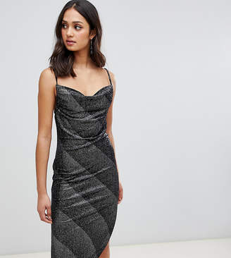 Miss Selfridge slip dress with cowl neck in silver