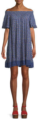 Tory Burch Wild Pansy Off-the-Shoulder Floral Mini Dress