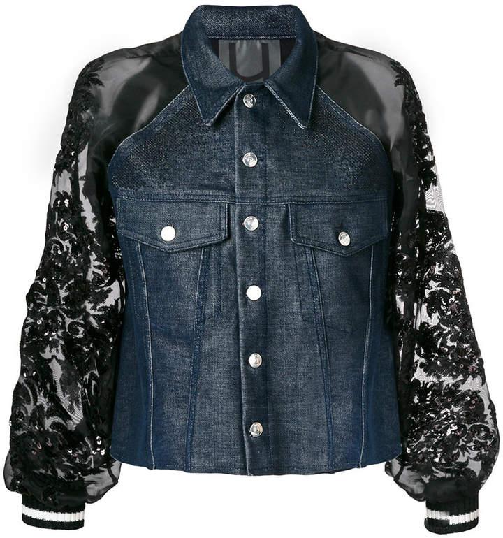 Aviu sequin sleeve denim jacket