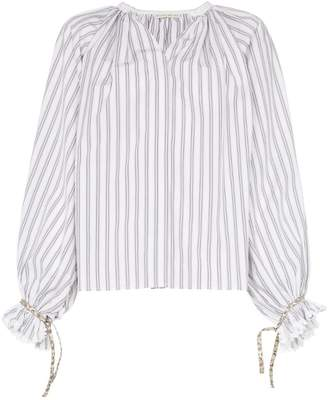 Etro Striped ruffle sleeve cotton blouse
