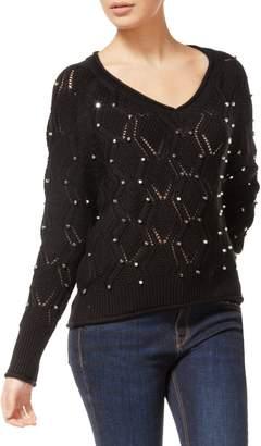 Dex Long Sleeve Black Studded Sweater