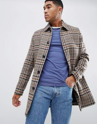 Asos Design DESIGN wool mix overcoat in brown check