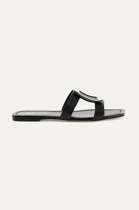 Roger Vivier Biki Viv' Embellished Leather Slides - Black