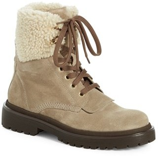 Women's Moncler 'Patty Scarpa' Genuine Shearling Trim Ankle Boot $670 thestylecure.com
