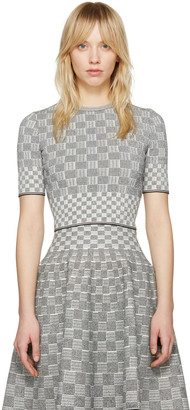 Alexander McQueen Black & Ivory Jacquard Check Pullover $975 thestylecure.com