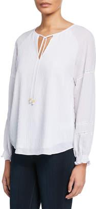 MICHAEL Michael Kors Gauze Lace-Trim Peasant Top