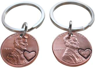 JewelryEveryday Double 2017 Penny Keychain Set with Heart Around Year; 1 Year Anniversary Gift