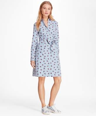 Brooks Brothers Rose-Print Striped Cotton Poplin Shirt Dress