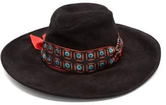 Etro Ribbon Trim Suede Hat - Womens - Black