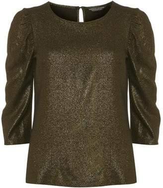 Dorothy Perkins Womens Gold 'Jennifer' Puff Sleeve Top