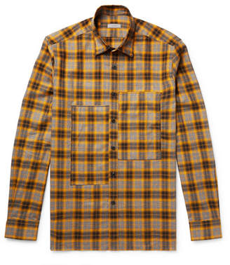 Lanvin Patchwork Embroidered Checked Cotton-Flannel Shirt
