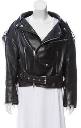 Balenciaga 2017 Scarf-Neck Leather Jacket
