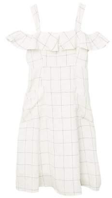 MANGO Cold-shoulder linen-blend dress