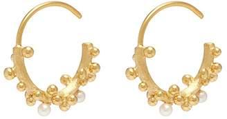 Belinda Chang 'First Frost' pearl small hoop earrings