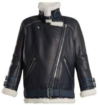 Acne Studios Velocite Oversized Shearling Jacket - Womens - Blue White