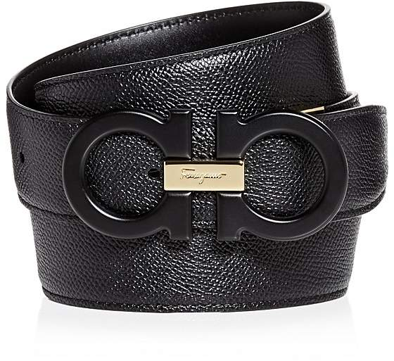 Salvatore Ferragamo Matte Double Gancini Reversible Leather Belt