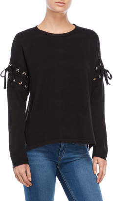 Alison Andrews Black Lace-Up Sweater