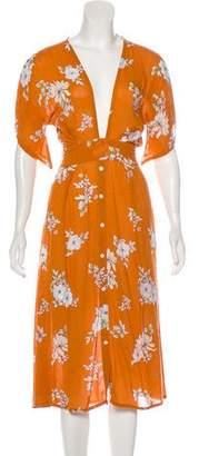 Faithfull The Brand Plunge Neck Midi Dress