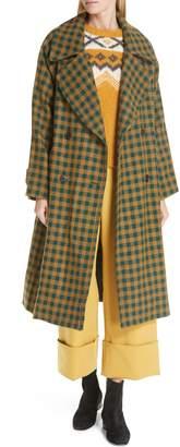 Sea Ethno Pop Check Boyfriend Coat