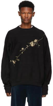 Haider Ackermann Black Floral Embroidered Sweatshirt