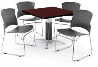 "OFM Multi-Use Break Room Package, 36"" Square Table with Plastic Stack Chairs, Mahogany Finish with Metal Mesh Base and Gray Seats (PKG-BRK-028)"