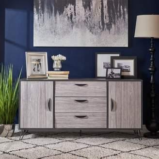 Noble House Alondra Mid Century Modern Two Toned Faux Wood Cabinet, Gray Oak