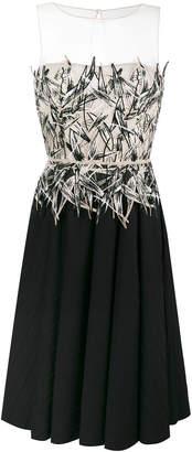Blumarine pleated trim contrast dress