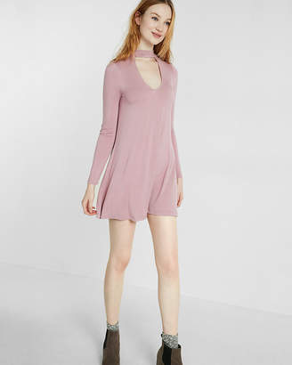 Express Cut-Out Trapeze Choker Dress