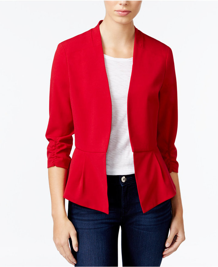 Amy Byer Juniors' Ruched-Sleeve Open-Front Blazer