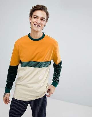 Asos DESIGN Relaxed Longline Long Sleeve T-Shirt With Velour And Jersey Panelling In Tan