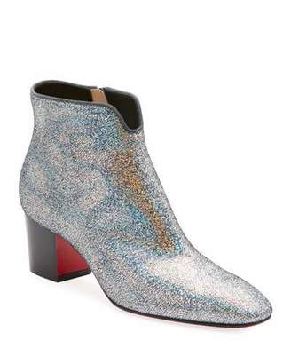 6418d7af9a81 Christian Louboutin Disco 70s Low-Heel Glitter Red Sole Booties