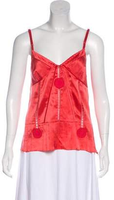 Marc by Marc Jacobs Marc Jacobs Lace-Trimmed Silk Top