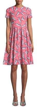 Carolina Herrera Zebra-Print Short-Sleeve Party Dress
